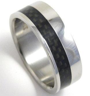 SSR05 - 8mm Black Carbon Fiber Stainless Steel Ring