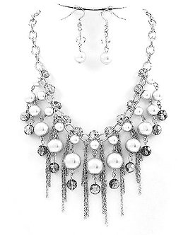 NP1117  Multichains Silver Balls Beads Rhodium Chunky Necklace Set