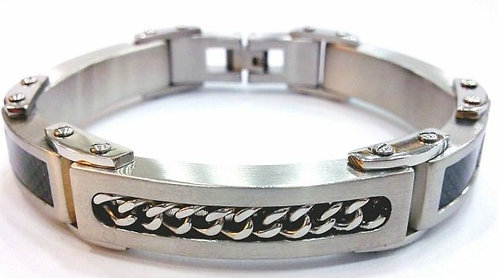 SSB7839 Chain and Black Carbon Fiber Stainless Steel Bracelet
