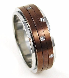 SSR4732 CZ Copper Stainless Steel Spinning Ring