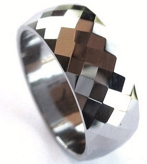 TU3044 - 8mm Multi Faceted Diamond Shape Tungsten Carbide Ring