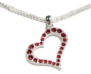 NP71 Multichain Red Crystal Hollow Heart Pendant