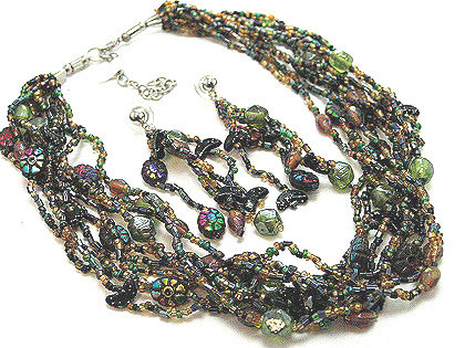 NP133 Colorful Glass Beads Necklace and Earrings Set