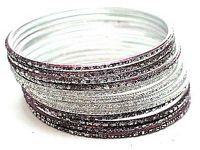 BR35 Lot of 12 Silver and Purple Glitter Bangle Bracelets