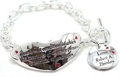 """BR55 Inspirational Heart Shape bracelet inscribed: """"Love.."""