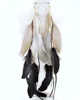 EA403 - 15 Inch Black Grey Feather Dangle Earrings & Hair Clips