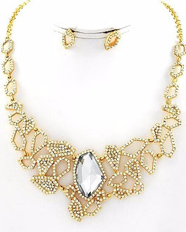 NP1112 Exquisite Abstract Clear CZ Gold Necklace Set