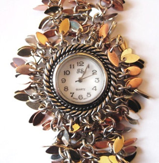 WW110 Unique Multitone Metal Chip Chain Link Toggle Watch