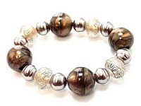 BR27 Antique Gold Marble Lucite Beads Stretch Bracelet