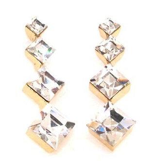 EA65 Square Crystal Gold Dangle Post Earrings