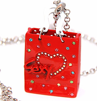 NP21 Sexy Red Enamel CZ Shopping Bag Rhodium Sweater Pendant