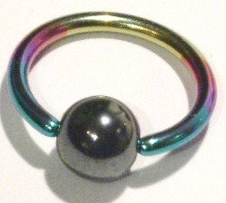 BJ63 Rainbow Anodized Titanium Ball Captive Ring 14g