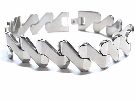 SSB6084 - 12mm Satin and Shiny Finish Stainless Steel Bracelet