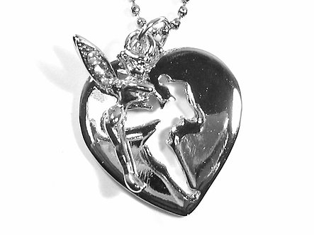 NP66 CZ Tinkerbell Fairy Cut Out Heart Pendant Necklace