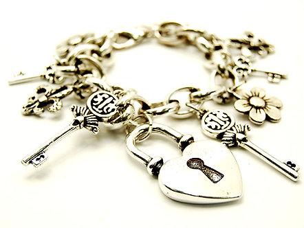 BR76 Two Tone Heart Lock Key Charm Bracelet