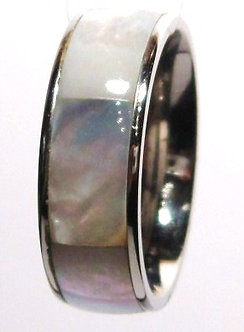 SSR702 Shell Inlay Stainless Steel Ring