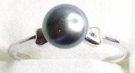 PR019 - 14K White Gold Plated Black Pearl Ring