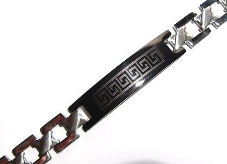 SSB11341 Black Greek Key Stainless Steel Bracelet