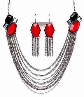 NP1025 Multi Strand Chain Red Black Beads Cascading Necklace Set