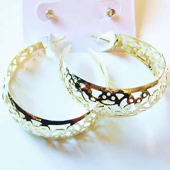 EA94 Two Pairs CZ Stud and Filigree Hoop Gold Earrings Set