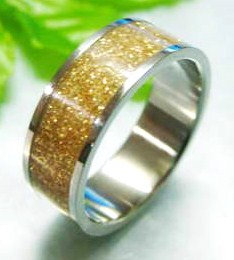 SSR1792 Gold Glitter Stainless Steel Band Ring