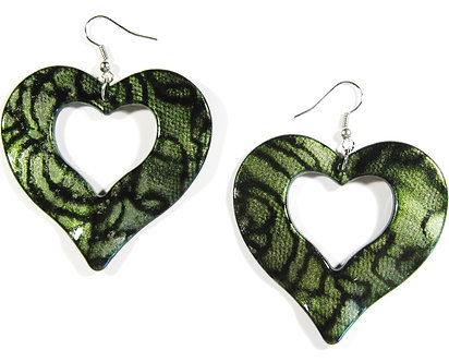EA135 Wavy Green Heart Shape Dangle Earrings