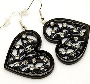 EA06 Trendy Black Filigree Acrylic CZ Heart Dangle Earrings