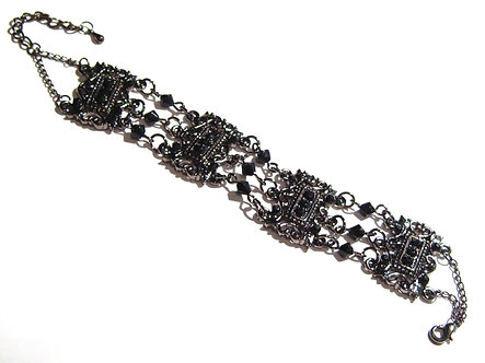 BR60 Antique Silver Black Crystal Beads Chain Link Bracelet