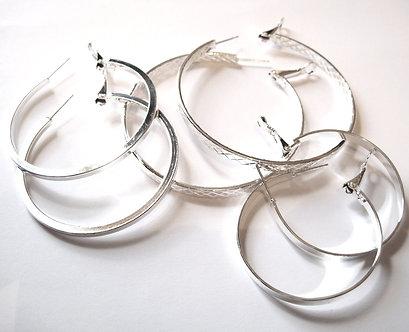 EA96 Three Pairs Assorted Trendy Silver Hoop Earrings Set