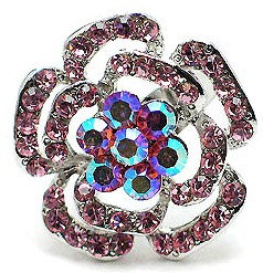 OS02 Pink Crystal Anti Tarnish Flower Cocktail Ring