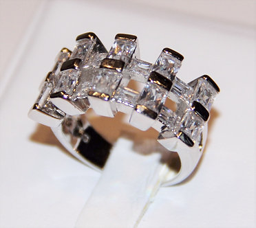 WR122 Clear CZ Baguette Sterling Silver Rhodium Ring
