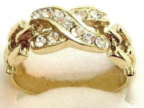 GR10 Sparkling Clear CZ High Polish 18K Gold Ring
