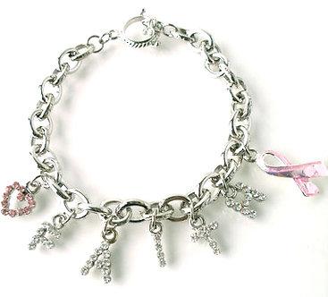 BR45 Pink Ribbon FAITH Cancer Heart CZ Charms Bracelet