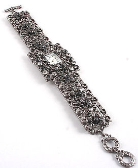 WW115 Antique Style Black CZ Rhinestone MOP Face Toggle Watch