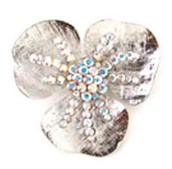 BP57 Stunning Rhodium Finish Crystal Flower Brooch