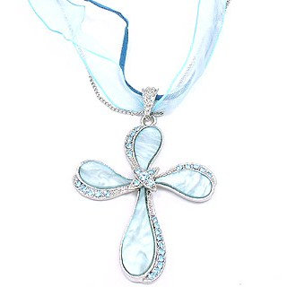 """NP166 Mother of Pearl Blue Crystals Cross Chain/Ribbon Pendant 2.5"""""""
