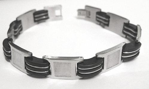 SSB23 Stainless Steel Rigid Black Rubber Bracelet