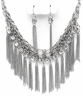 NP1008 CZ Chains Silver Cascade Drop Chunky Statement Necklace  Set