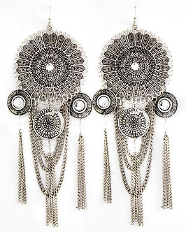 EA18 Oversized 7 Inch Antique Silver Metal Sundial  Chains Earrings