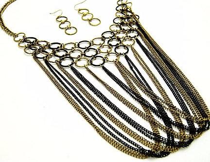 NP919 Gold Black Multichain Cascade Drop Chunky Statement Necklace Set