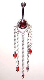 BJ34 Sexy Crystal 5 Dangle Belly Ring