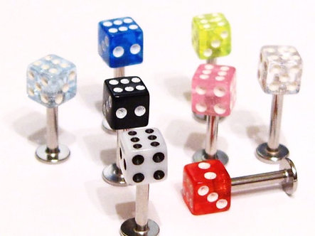 BJ133 Acrylic Dice Stainless Steel Chin Labret, 14g