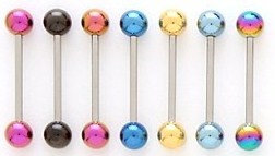 BJ51 Titanium Tongue Ring Barbells, Choice of Color - 14g