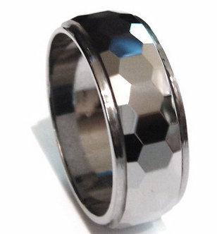 TU3042 - 9mm High Polish Faceted Tungsten Carbide Ring