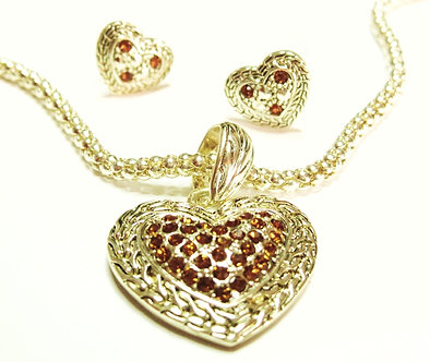 NP08 14K Gold Plated Crystal Heart Mesh Chain Necklace Set