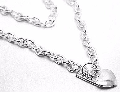 NP75 Trendy Heart Rhodium Finish Heavy Chain Toggle Necklace Pendant