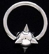 BJ68 Stainless Steel Spike Captive Ring 12g