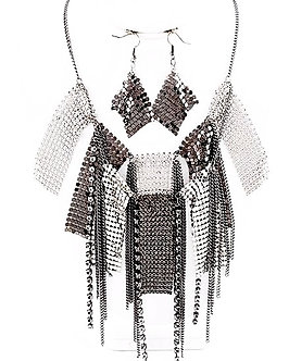 NP1102 Shiny Silver Black Mesh  Crystal Statement Necklace Set