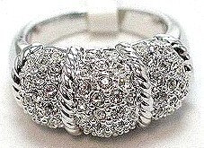 WR142 Sterling Silver Rhodium Crystal Paved Chunky Ring