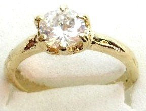 GSR03 Sparkling Clear CZ 18K Gold Solitaire Ring